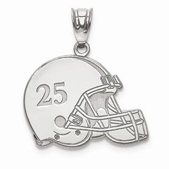 Sterling Silver Laser Football Helmet Number And Name Pendant