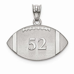 Sterling Silver Laser Football Number And Name Pendant