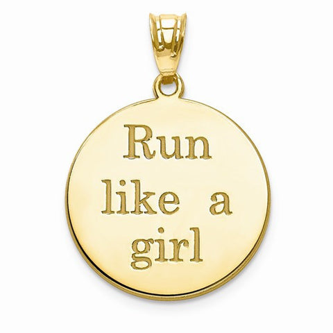 GP Run Like A Girl Laser Circle Name Marathon Pendant