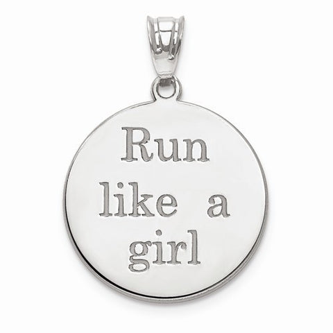 SS Run Like A Girl Laser Circle Name Marathon Pendant