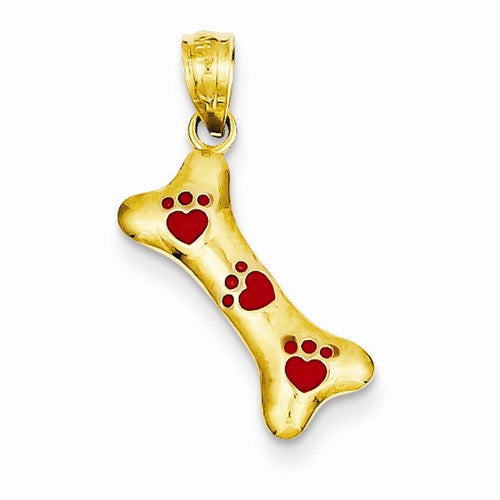 14k Yellow Gold Dog Bone With Red Enamel Paw Prints Pendant