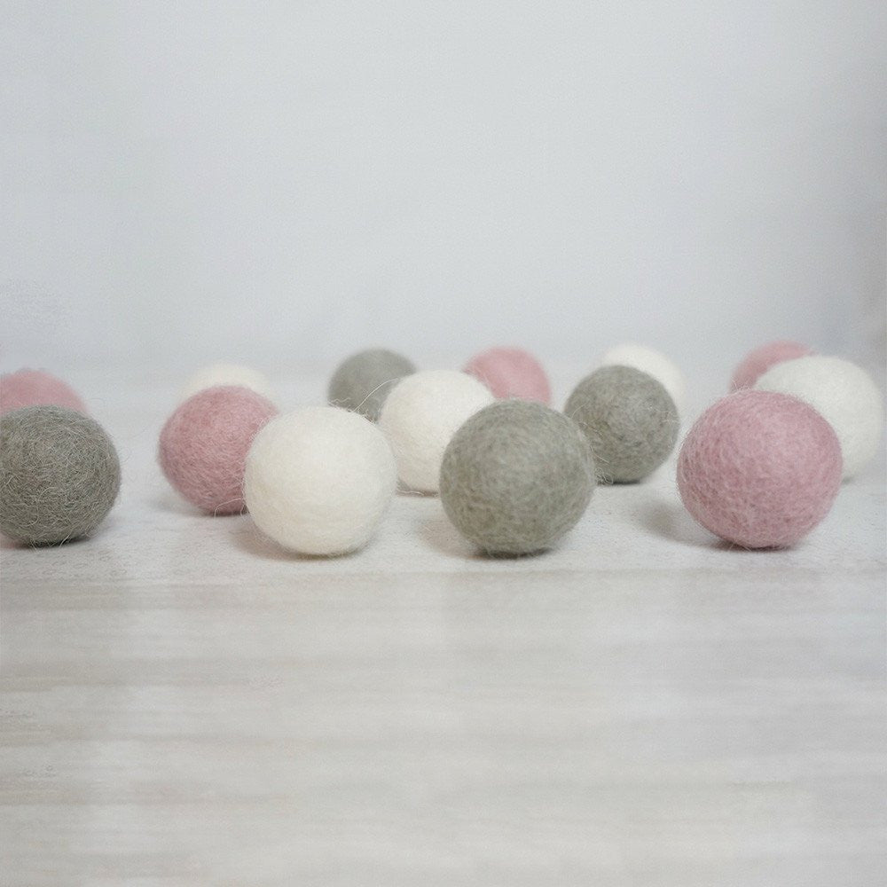 Felt Ball Pom Pom Garland - Dusty Pink, Dove Grey & White