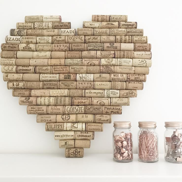 Recycled Wine Cork Memo Board - Heart