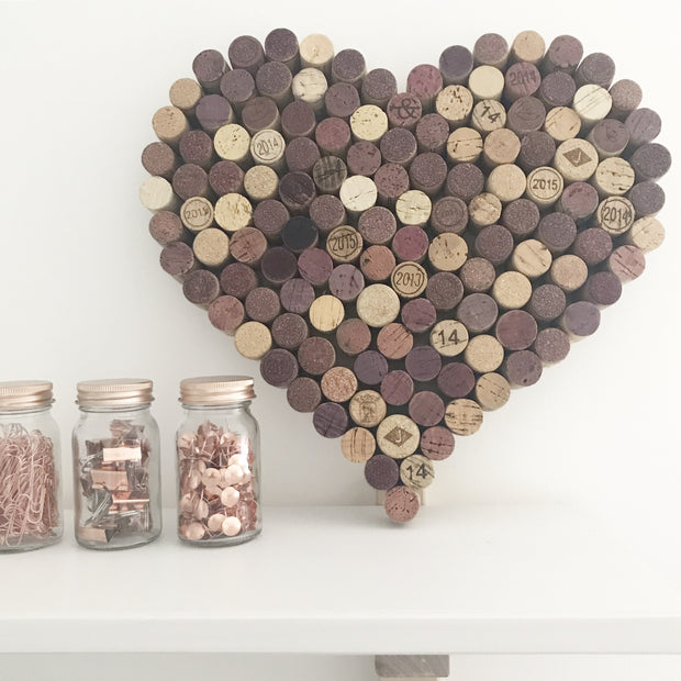 Recycled Wine Cork Memo Board - Small Heart