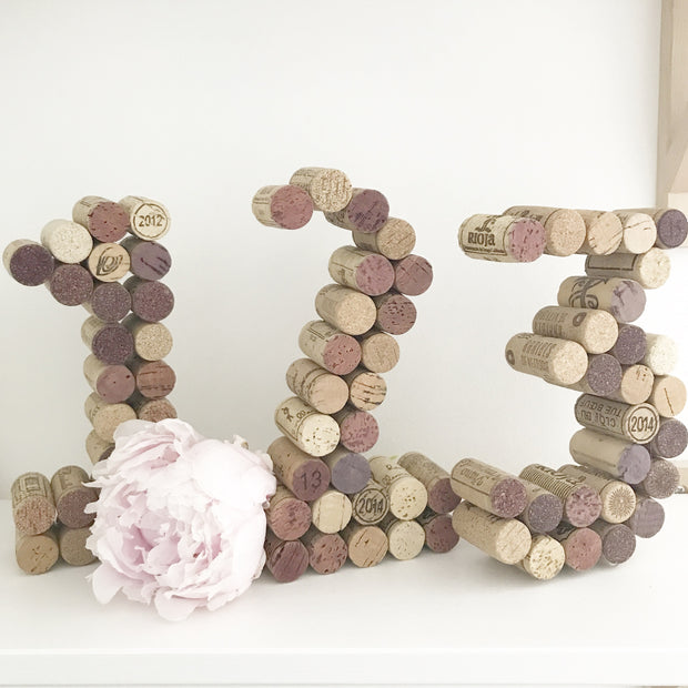 Recycled Wine Cork Table Number