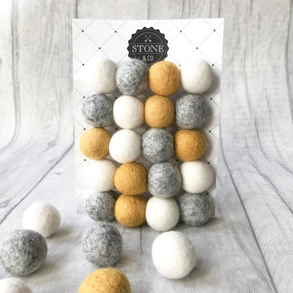 Felt Ball Pom Pom Garland - Mustard, Natural Grey and White