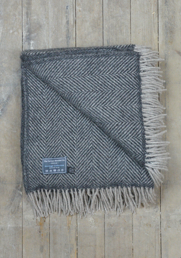 Lifestyle New Wool Blanket - Charcoal and Silver Herringbone