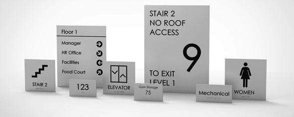 Economic Sign Family includes: Unisex Restroom, Women Restroom, Men Restroom, Room Name, Room ID, Suite Identification, Family Restroom, Elevator, Hall Exit, Room Number, Stair, Directory, Directional, Map Insert and Max Occupancy Signs.