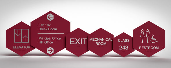 Geometric Sign Family includes: Unisex Restroom, Women Restroom, Men Restroom, Room Name, Room ID, Suite Identification, Family Restroom, Elevator, Hall Exit, Room Number, Stair, Directory, Directional, Map Insert and Max Occupancy Signs.