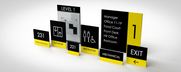 Horizon Sign Family includes: Unisex Restroom, Women Restroom, Men Restroom, Room Name, Room ID, Suite Identification, Family Restroom, Elevator, Hall Exit, Room Number, Stair, Directory, Directional, Map Insert and Max Occupancy Signs.