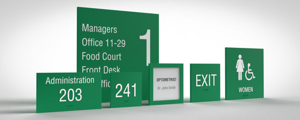 Sydney Sign Family includes: Unisex Restroom, Women Restroom, Men Restroom, Room Name, Room ID, Suite Identification, Family Restroom, Elevator, Hall Exit, Room Number, Stair, Directory, Directional, Map Insert and Max Occupancy Signs.