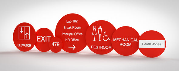 Tirana Sign Family includes: Unisex Restroom, Women Restroom, Men Restroom, Room Name, Room ID, Suite Identification, Family Restroom, Elevator, Hall Exit, Room Number, Stair, Directory, Directional, Map Insert and Max Occupancy Signs.