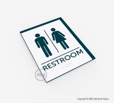 Unisex Restroom Sign - BAR 08 - WeBuildSigns (WBS)