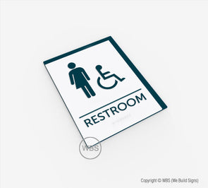 Gender-Neutral Handicap Restroom ADA Sign - BAR 11 - WeBuildSigns (WBS)