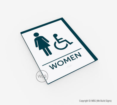 Women's Handicap Restroom ADA Sign - BAR 16 - WeBuildSigns (WBS)