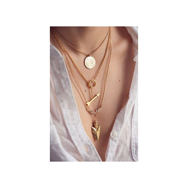 Layering Arrow Pendant Fashion Necklace