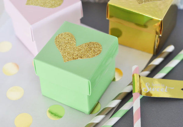 Set of 12 Blank Mini Cube Favor Boxes