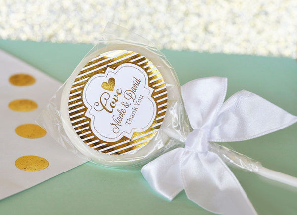 Personalized Metallic Foil Lollipop Favors with label and bow  - Wedding ( Min 24)