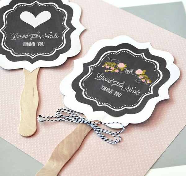 Personalized Chalkboard Wedding Paddle Fans ( Min 24)