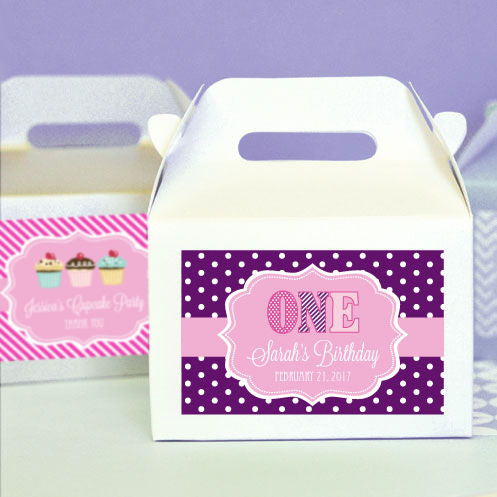 (Set of 12) Personalized MOD Kid's Birthday Mini Gable Boxes