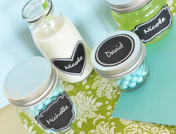 Set of 24 Vinyl Chalkboard Labels , Available in 4 shapes !
