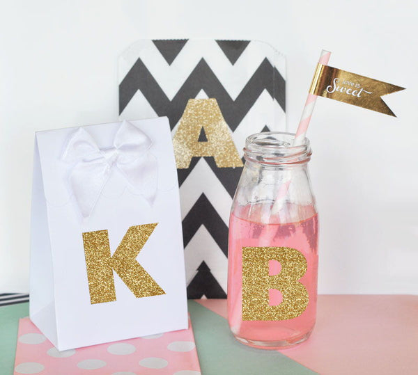 Set of 24 Gold Glitter Monogram Stickers