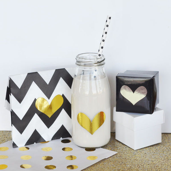 Gold & Silver Foil Heart Stickers (Set of 24)