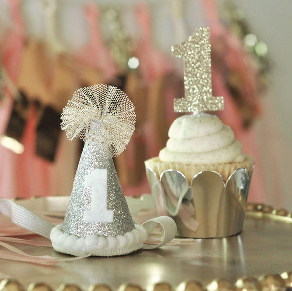 Glitter 1st Birthday Party Hat , Too Cute !!!