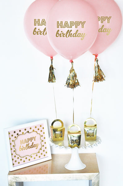 Set of 3 Gold Birthday Party Balloons