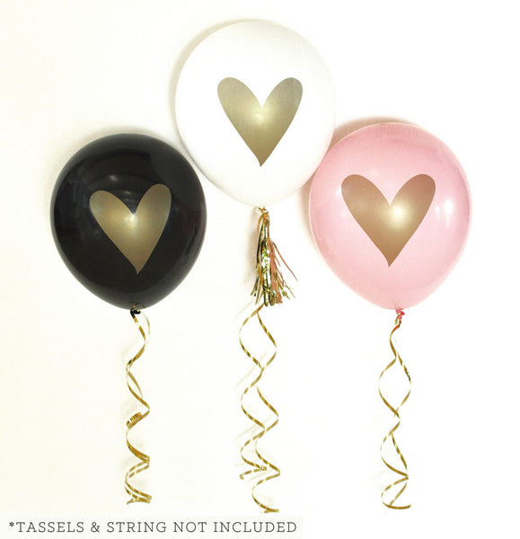 Set of 3 Gold HEART Party Balloons
