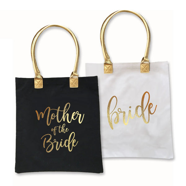 Metallic Gold Print Bridal Party Tote Bag ! Available in 3 Colors