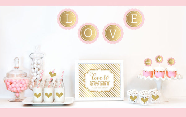 Gold & Glitter Bridal Shower Decor Kit