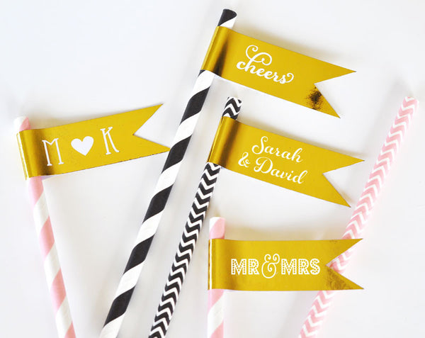 Metallic Gold or Silver Foil Flag Labels ( Min Order 20 )