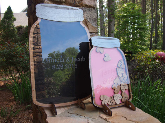 Personalized Mason jar drop box guest keepsake
