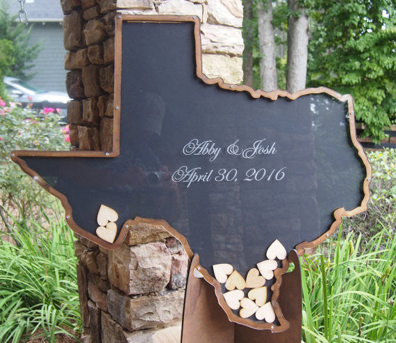 Texas state shaped drop box sign in guest - Large -