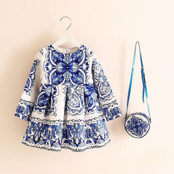 Girls Dresses 2017 Dress with a cute little bag  !