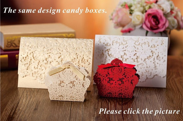 100pcs New Arrival Horizontal Laser Cut Wedding Invitation with White Hollow Flora,Customizable,CW073