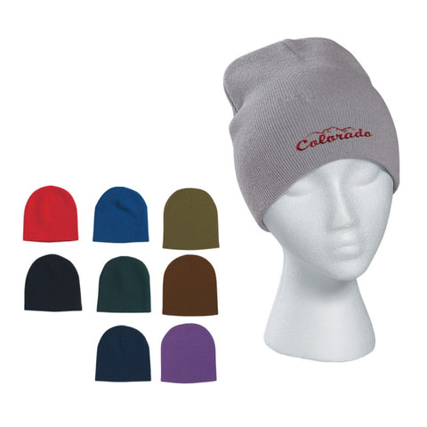Knit Beanie Cap with Embroidery