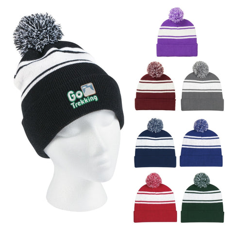 Two-tone Knit Pom Beanie with Embroidery