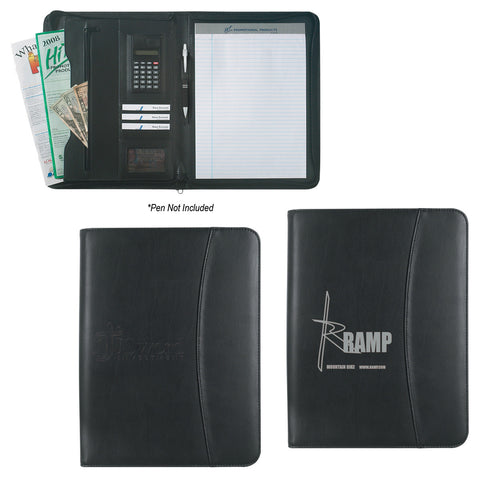 "Leather Look 8 ½"" X 11"" Zippered Portfolio"