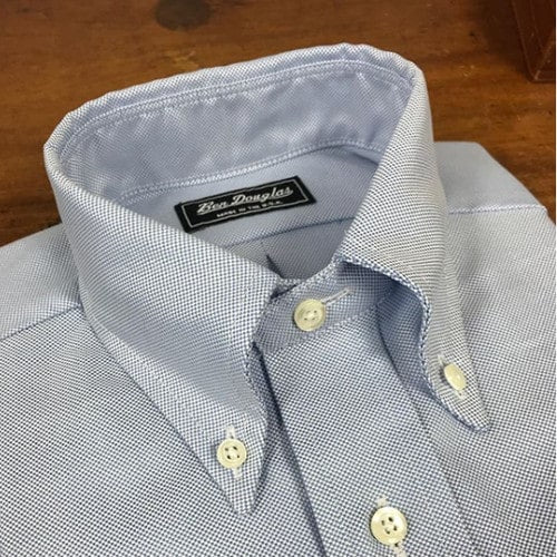 Custom American-made blue oxford cloth button down shirt with collar roll