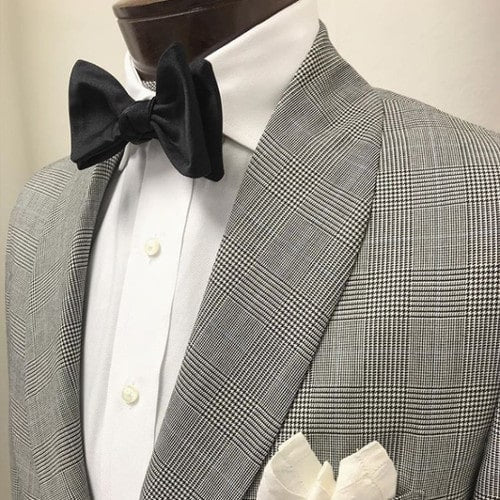 Custom tailored shawl lapel dinner jacket in gray Prince of Wales check