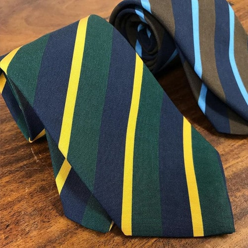 Boldly colored repp stripe ties in Irish Poplin, a wool and silk blend