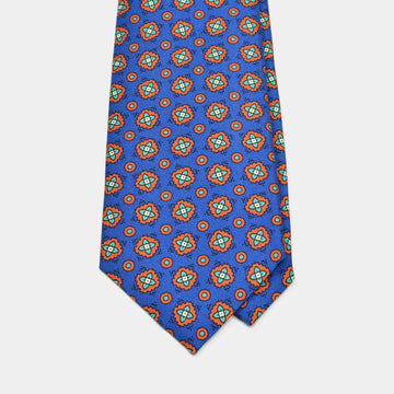 Blue Abstract Foulard Printed Silk Tie