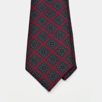 Burgundy wool challis tie with large diamond medallion pattern