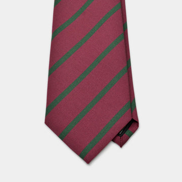 Burgundy & Green Stripe Irish Poplin Tie