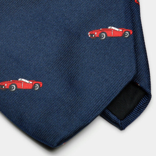 Navy Vintage Sports Car Motif Woven Silk Tie