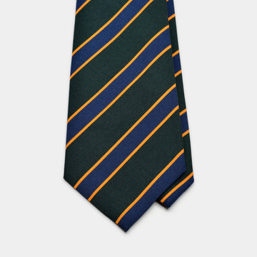 Dark Green & Navy Stripe Irish Poplin Tie