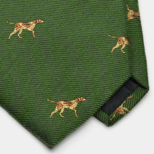 Green Pointer Dog Motif Wool/Silk Tie