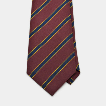 Maroon & Navy Stripe Irish Poplin Tie